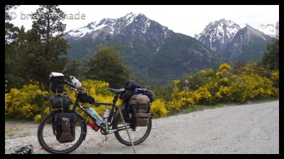 a fully loaded heavy bike at the beginning of the trip....