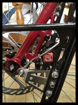 mudguard stay needed bending around disc calliper ....