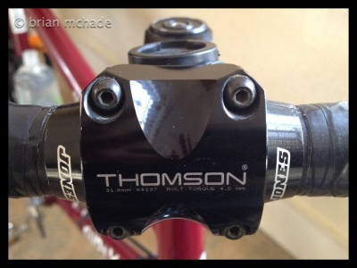Thomson stem with Jones hoop bars ...this set up got me through Patagonia in comfort...