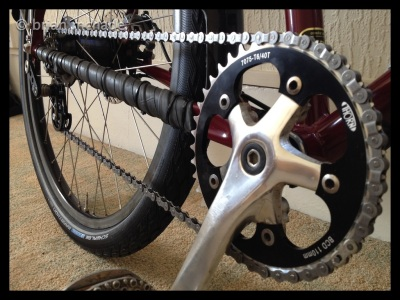 Thorn chainring and cranks also recycled inner tube used as a chain stay protector ...